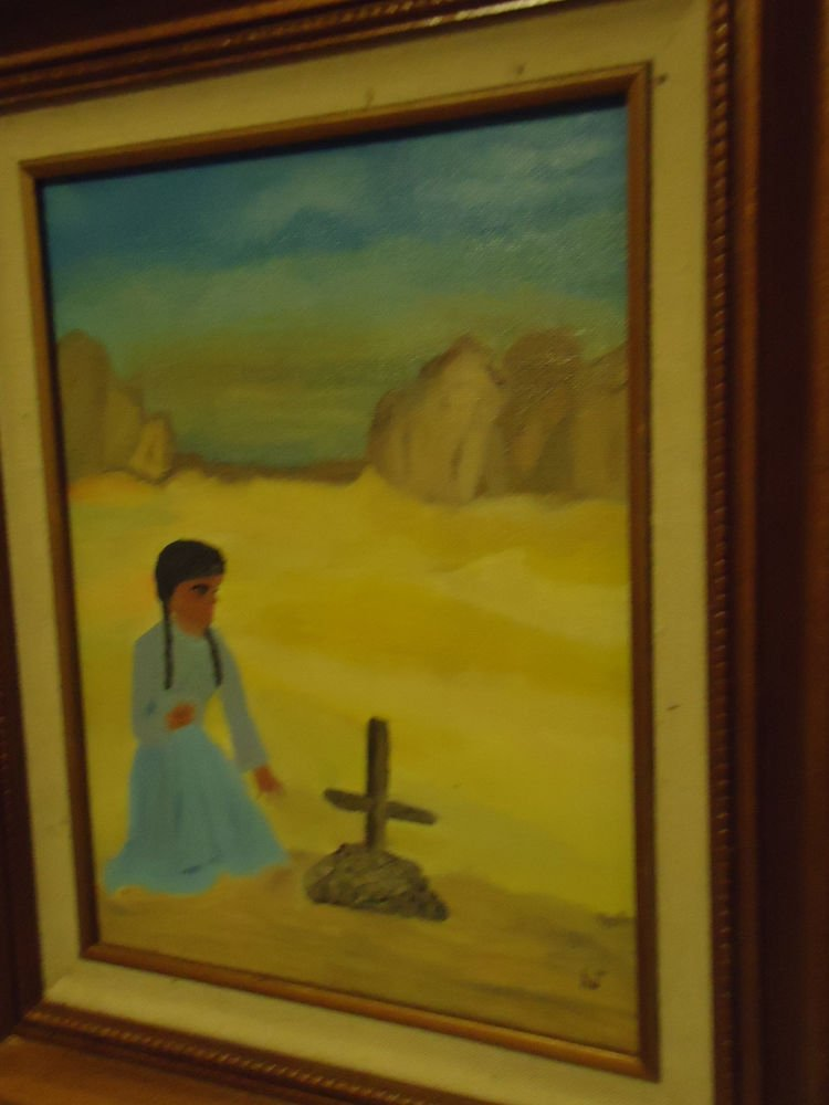 NICE ORIGINAL OIL PAINTING OF INDIAN GIRL AT GRAVE..SIGNED H.J..FRAME/MATTED
