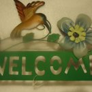 HUMMINGBIRD & HIBISCUS FLOWER WELCOME SIGN HANGING...PRETTY
