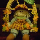 """COUNTRY CLOTH DOLL IN CANE SWING """"WELCOME"""" LOTS OF FLOWERS & CHEER"""