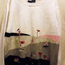 VINTAGE LONG SLEEVE WHITE LADIES SWEATER WITH EMBROIDERED GOLFERS...SIZE XL