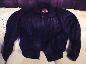 MEN' BLACK LEATHER MOTORCYCLE/BOMBER REED SPORTSWEAR JACKET...SIZE 44T....NICE