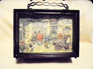 "VINTAGE ANTON PIECK 3D ART PRINT/SHADOWBOX WOODEN PURSE WITH BRASS 9"" X 6 1/2"""