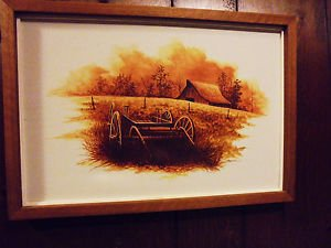 COUNTRY WAGON IN PASTURE... BARN IN BACKGROUND...FRAMED & SIGNED BY AGUIRRE