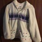 EUC White W/Multicolor Design Zip up Hoodie Hooded Jacket M 7/8