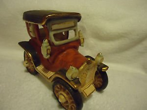"""CERAMIC  OLD TIME CAR WITH CARRIAGELIGHTS....DETAILED...6 3/4"""" LONG..5 1/2"""" HIGH"""