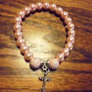 PINK LADIES BEADED BRACELET WITH CROSS CHARM -EXPANDABLE