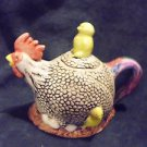 VINTAGE ROOSTER WITH YELLOW CHICKS TEAPOT...SO UNIQUE/ONE MINOR REPAIR ON HANDLE
