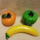 BEAUTIFUL HAND BLOWN MURANO STYLE ART GLASS..ORANGE, GR PEPPER & BANANA
