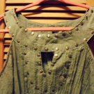 LADIES SIZE 18/20W OLIVE GREEN SLEEVELESS BLOUSE WITH FLAT GOLD DECORATION