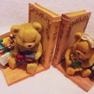 VINTAGE TOYLAND BEAR BOOK ENDS BY ARTMARK...SO PRETTY.......B-98