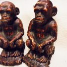 """SET OF MONKEY MATCHING BOOKENDS...BROWN RESIN....HEAVY...GREAT ACCENT..7 1/4"""""""