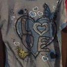Bobbie Brooks Blue & Gray Love Short Sleeve Shirt Xl 14/16