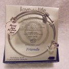 """SILVER BANGLE """"LOVE THIS LIFE"""" CHARM BRACELET..STILL IN BOX....EXPANDABLE"""