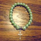LIGHT GREEN LADIES BEADED BRACELET WITH CROSS CHARM -EXPANDABLE