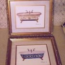 "SET OF FRAMED & MATTED BATHTUB WALL ART WITH UNIQUE FRAMES....SIGNED-14""  X 12"""