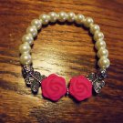LADIES/WOMENS WHITE PEARL BEADED WITH BUTTERFLY & PINK ROSE BRACELET-EXPANDABLE