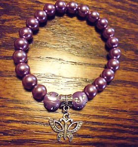 LADIES PURPLE BEADED BRACELET WITH BUTTERFLY CHARM -EXPANDABLE