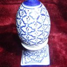 VINTAGE TWO PIECE SALT AND PEPPER SHAKER BLUE AND WHITE.HAND PAINTED IN THAILAND