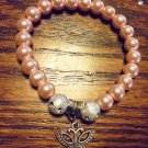PINK LADIES BEADED BRACELET WITH BUTTERFLY CHARM -EXPANDABLE