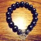 LADIES LARGE BLACK BEADED WITH BUTTERFLY CHARM BRACELET-EXPANDABLE