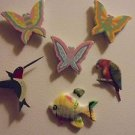 VINTAGE REFRIGERATOR MAGNETS...LOT 5   BIRDS, BUTTERFLIES, ETC..(B-98)