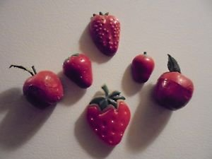 Vintage Refrigerator Magnets...LOT 3  STRAWBERRIES, APPLES, ETC...(B-98)