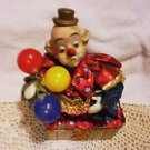 """COLORFUL CLOWN MUSIC BOX...HAS BALOONS & SWAYS TO THE MUSIC...7 1/2"""" TALL"""