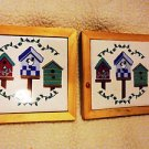 SET OF 2 WOODEN FRAMED CERAMIC ART TILE WITH COLORFUL BIRD HOUSES..Approx 5 1/2""