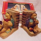 "BEAUTIFUL SET OF BEAR PORCELAIN BOOKENDS...COLORFUL & CHEERFUL....EACH 4"" X 4"""