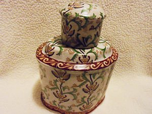 VINTAGE PORCELAIN CHINESE TEA CADDY JAR(?0 WITH LID...DETAILED & GREAT COLORS