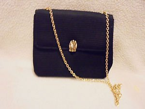 NICE LADIES BLACK FABRIC PURSE WITH CHAIN STRAP...ALL OCCASION....