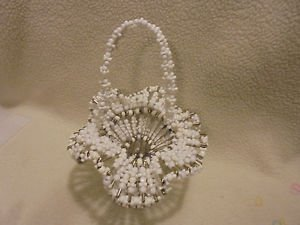 "VINTAGE & UNIQUE  FOLK WHITE ART BEADS & SAFETY PINS BASKET....APPROX 11"" TALL"