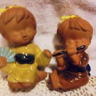 """SET OF 2 JAPANESE POTTERY/GLAZED SMALL CHILDREN FIGURINES...SO DETAILED..4 1/2"""""""