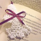 "3"" CROCHETED ANGEL BOOKMARKS...WHITE WITH MAROON TASSEL... GREAT GIFTS & HAPPIES"