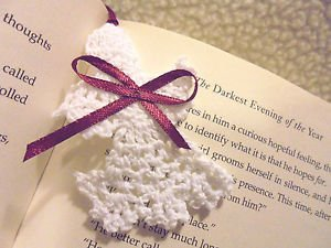 """3"""" CROCHETED ANGEL BOOKMARKS...WHITE WITH MAROON TASSEL... GREAT GIFTS & HAPPIES"""