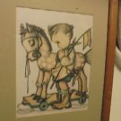 """B. HUMMEL CHARCOAL PRINT..FRAMED & MATTED-SIGNED-NICE-OVERALL 17 1/2"""" X 13 1/4"""""""