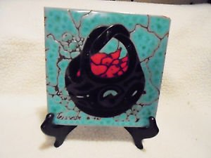 STUNNING CLEO TEISSEDRE SOUTHWEST NATIVE ART/TILE TRIVET...6X6 1990