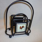 METALLIC BLACK NAPKIN/LETTER HOLDER WITH ROOSTER TILE ON EACH SIDE...NICE