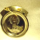 "ROUND GOLD/SILVER COLORED ""GOLF ASHTRAY...GREAT FOR OFFICE/DEN...4 3/4"" DIAMETER"