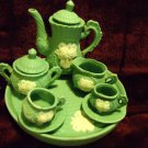"10 PC GREEN/WHITE TEA SET...6"" TRAY..4"" TALL TEAPOT....NICE ACCENT"