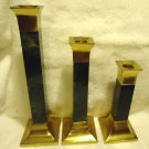 "3 PC SET MATCHING CANDLESTICKS,,,BRASS & GREEN MARBLE.INDIA...APPROX 10"",8"" 6"""