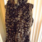 BEAUTIFUL SIZE L LINED FAUX FUR VEST WITH RUFFLES UP FRONT & NECK...GRAY & BLACK