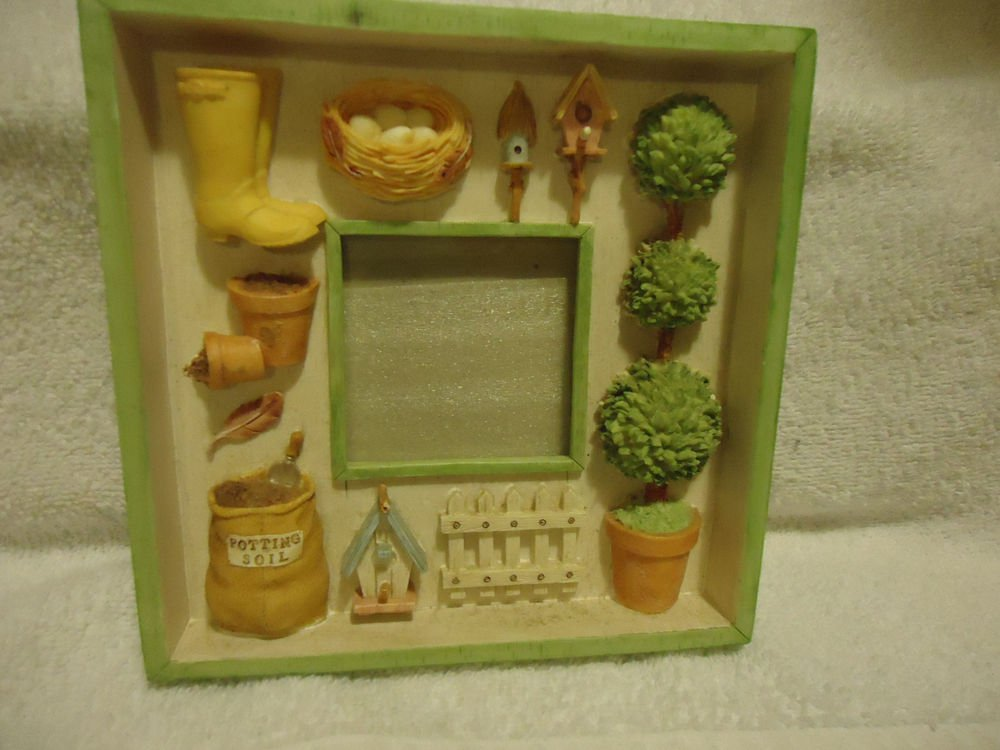 """DECORATIVE GARDENING  PICTURE FRAME ...APPROX PICTURE SIZE  2 1/4""""x 2 1/4"""""""