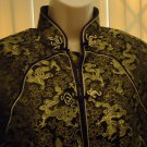 TIANYA'S DESIGN BLACK & GOLD ORIENTAL BLOUSE/TUNIC TOP/LINED/LONG SLEEVES-SIZE M