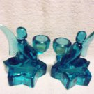 "VINTAGE PAIR OF GLASS ANGEL CANDLEHOLDERS...AQUAMARINE COLOR...4 1/2"" TALL"