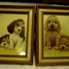 VINTAGE SET OF PUPPY PICTURES WITH WOODEN FRAME..GREAT ACCENTS...5 X 7