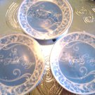 SET OF 3 BLUE/WHITE FIVE INCH LOVE, FAITH & HOPE PORCELAIN PLATES WITH STANDS