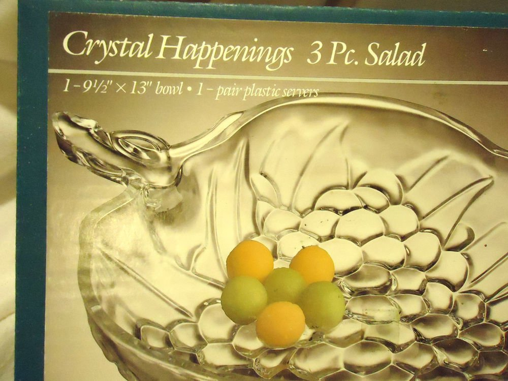 VINTAGE INDIANA GLASS CRYSTAL SALAD SET 3 PC. WITH BOX....GREAT SIZE