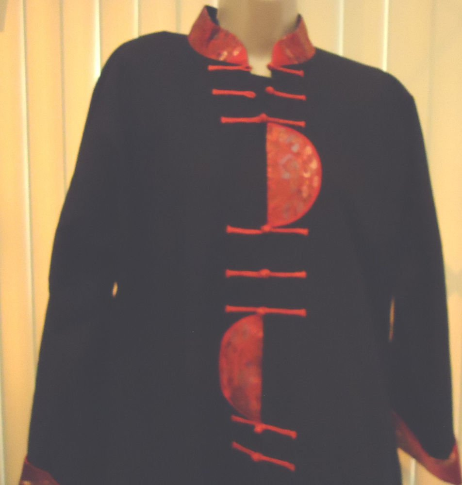 AOHANG'S DESIGN BLACK & RED ORIENTAL BLOUSE/TUNIC TOP/LINED/LONG SLEEVES..SIZE L