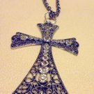 "LARGE 2 3/4"" RHINESTONE FILIGREE CROSS ON 30"" CHAIN WITH EXTENDER...NICE"